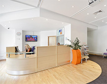 Interior view of the reception area at Garden studios, which is a bright, spacious area.